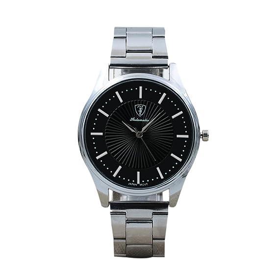 Reloj de cuarzo analógico retro para hombre, QinMM reloj de negocios de acero inoxidable (Plateado): Amazon.es: Relojes