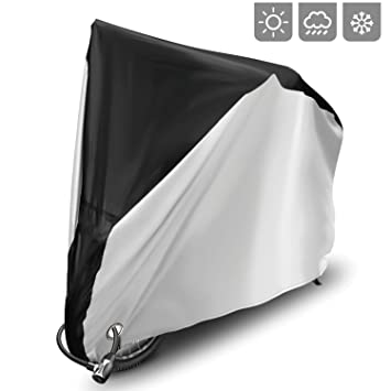 Cubierta para bicicleta cubierta de lluvia 190T Nylon UV protección para bicicleta de montaña bicicleta de carretera con cerradura agujeros bolsa de ...