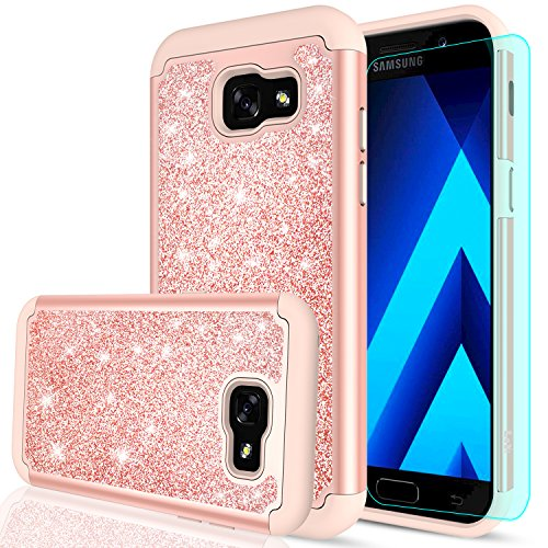 Galaxy A5 2017 Glitter Case with HD Screen Protector,LeYi Luxury Fashion Bling Cute Girls Women Design [PC Silicone Leather] Heavy Duty Protective Phone Case for Samsung Galaxy A5 2017 TP Rose Gold
