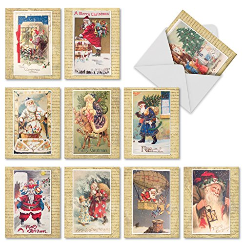 10 'Holly Jolly Santa' Season's Greetings Cards with Envelopes 4 x 5.12 inch, Vintage Boxed Stationery Set, Antique Santa Claus Postcards for Christmas, New Year, Holidays ()
