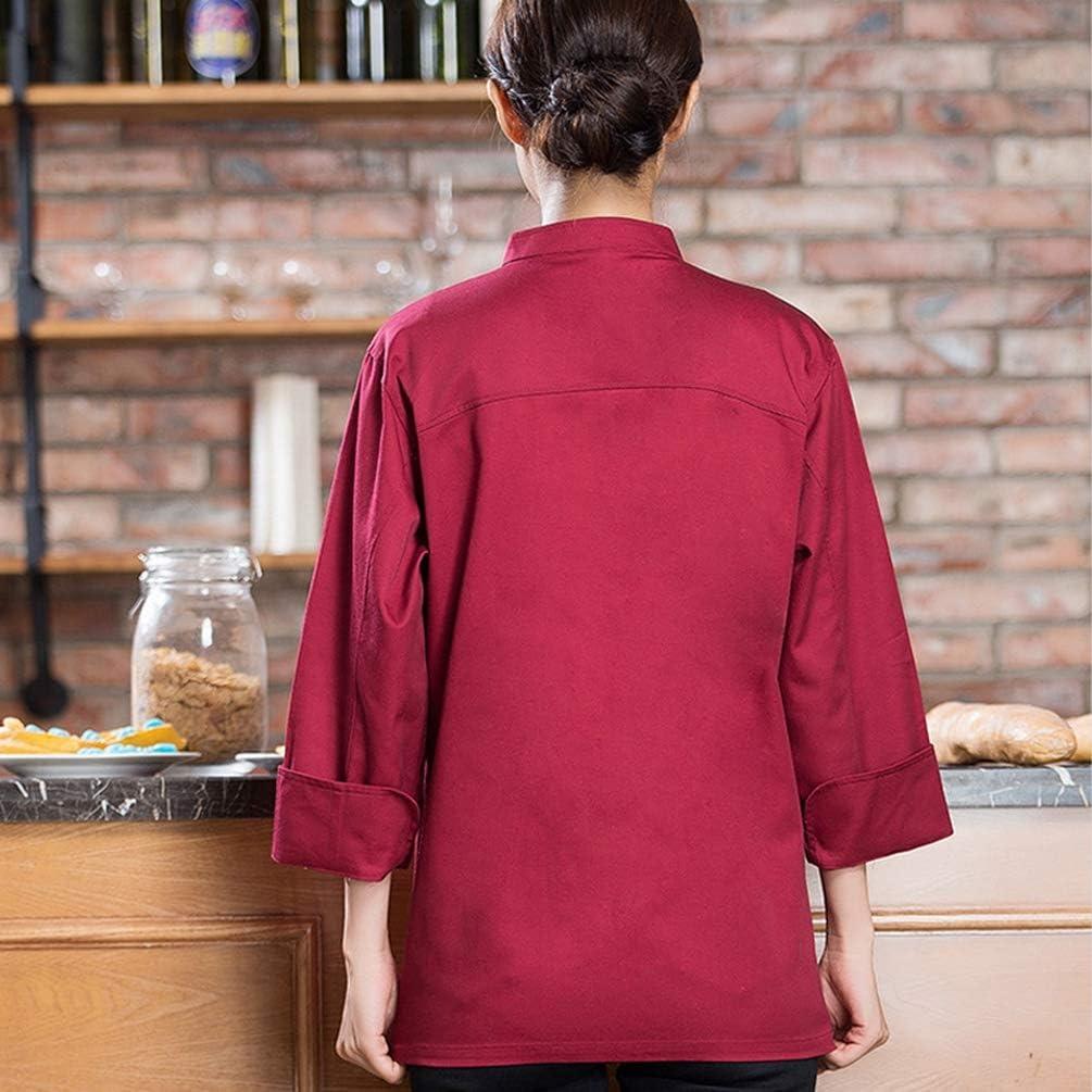 Dooxii Unisexe Homme et Femme Automne Hiver Manches Longues Veste de Cuisine Professionnel Cuisson au Four Uniforme Veste de Cuisinier