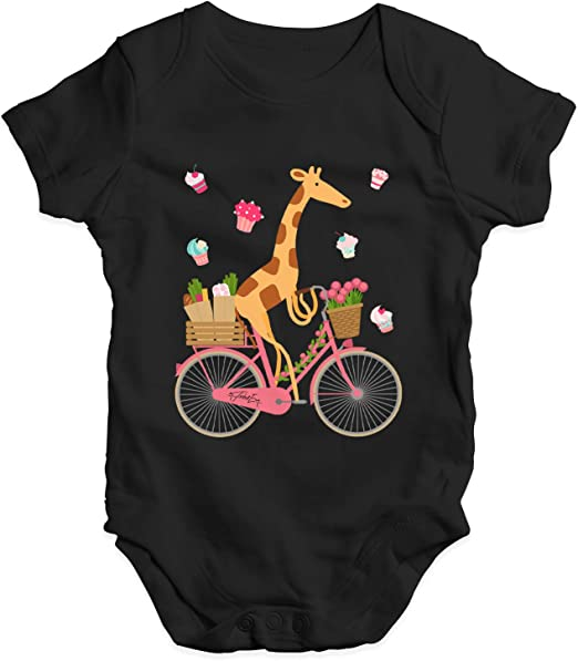 TWISTED ENVY Happy Giraffe Riding A Bicycle Baby Unisex Funny Baby Grow Bodysuit