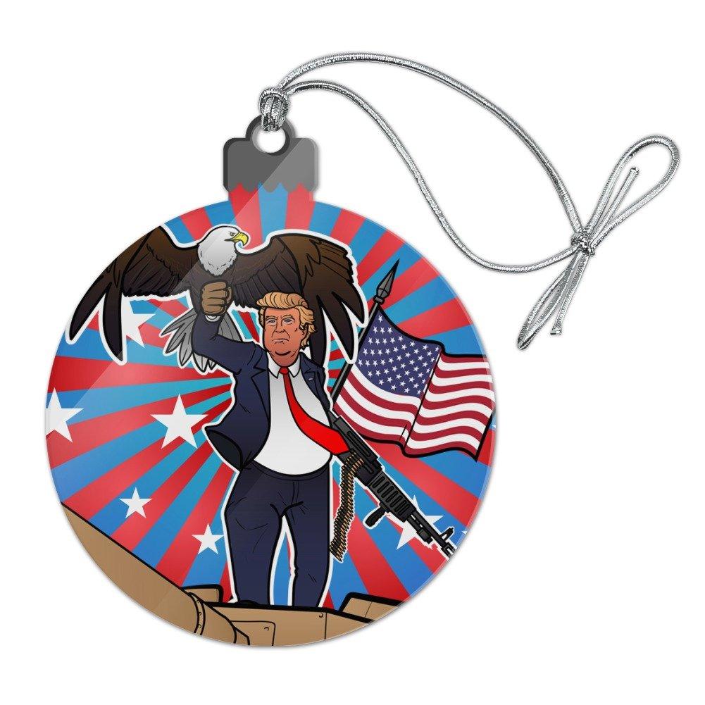 GRAPHICS & MORE Patriotic Donald Trump With Eagle American Flag Gun Acrylic Christmas Tree Holiday Ornament