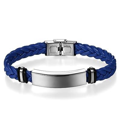 c8ea2f719247 JewelryWe Pulsera de Cuero Acero Inoxidable