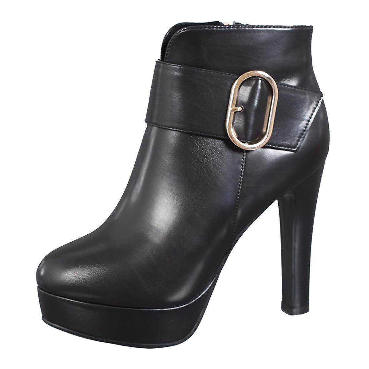 LBTSQ Damenschuhe Harte Sohle Kurze Stiefel Heel 11Cm Winter Samt Samt Samt Martin Stiefel Wasserdichte Plattform Schwarze Schuhe Mode Baumwolle e1b859