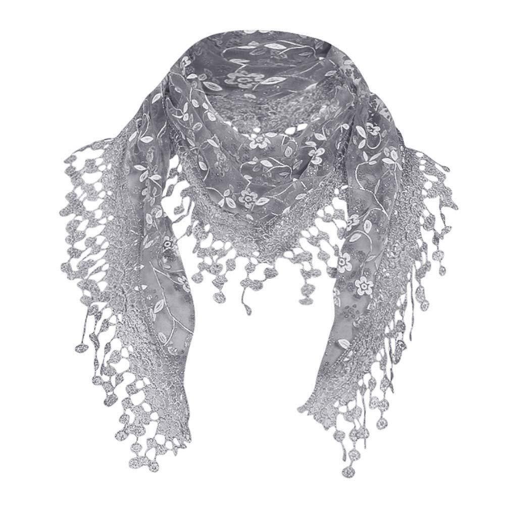 Hot Sale! iYBUIA Women Lace Sheer Floral Scarf Shawl Wrap Tassel Scarf
