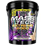 MuscleTech Mass Tech Extreme Mass Gainer Whey Protein Powder, Build Muscle Size & Strength with High-Density Clean Calories, Vanilla Milkshake, 22lbs (10kg)