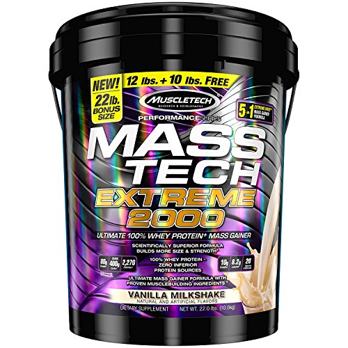 (MuscleTech Mass Tech Mass Gainer Whey Protein Powder, Build Muscle Size & Strength with High-Density Clean Calories, Vanilla Milkshake, 22lbs (10kg) )