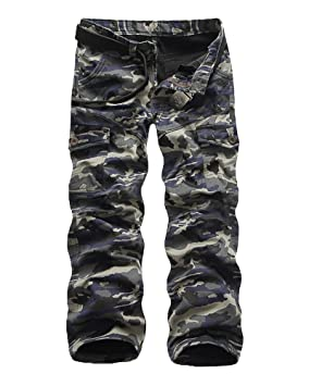 Yonglan Hombres De Algodón De Carga Secundarios Combate Pantalones De Trabajo Con Elástico Pantalones militares de… 9ZqeSBJET