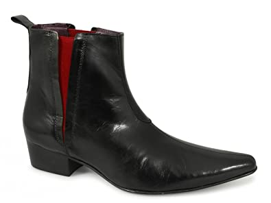 59801d23ffd Gucinari BRUNO Mens Cuban Heel  Red Line  Pointed Boots Black UK 6 ...