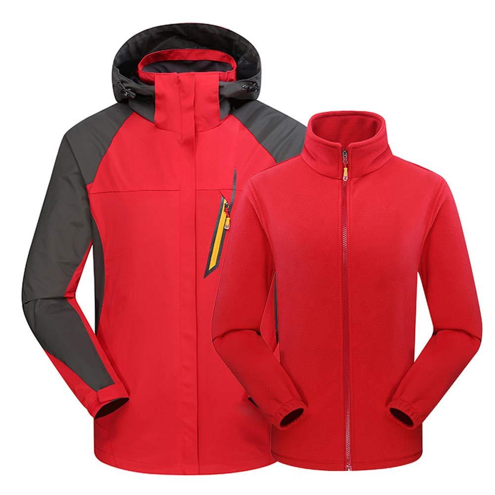 certainPL Men's Ski Waterproof 3 in 1 Jacket with Fleece Inner Rain Winter Coats Hooded Air Interchange Windproof Snowboard Jacket for Hiking Snow Outdoor Travel (Red, 2XL)