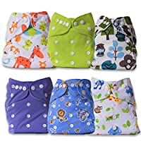 ArtOfLife Baby Cloth Diapers 6 Pack with 6 Inserts Adjustable Washable and Re...