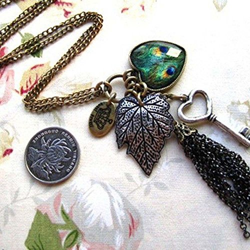 Hearts Chain Key Fashion Long Necklace Sweater Chain Peafowl Feather Leaves