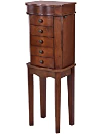 Giantex Jewelry Cabinet Armoire Box Wood Embedded Mirror Necklace Storage  Chest Stand Organizer (Brown)