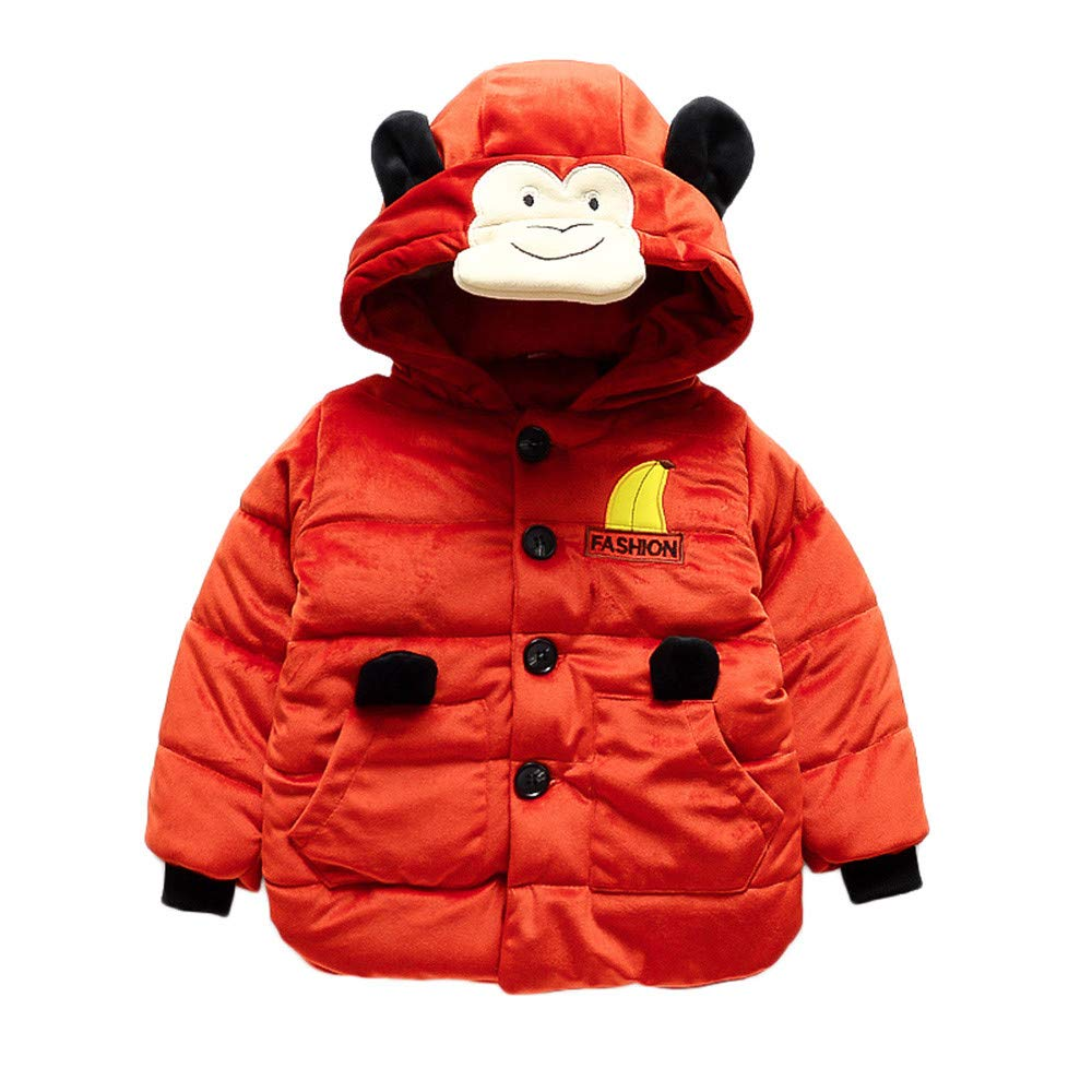 LIKESIDE Baby Boy Girl Cartoon Long Sleeve Monkey Hoodie Winter Warm Coat