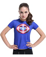Healths Women's Compression Tights Movie Theme Hero T Shirt Short Sleeve