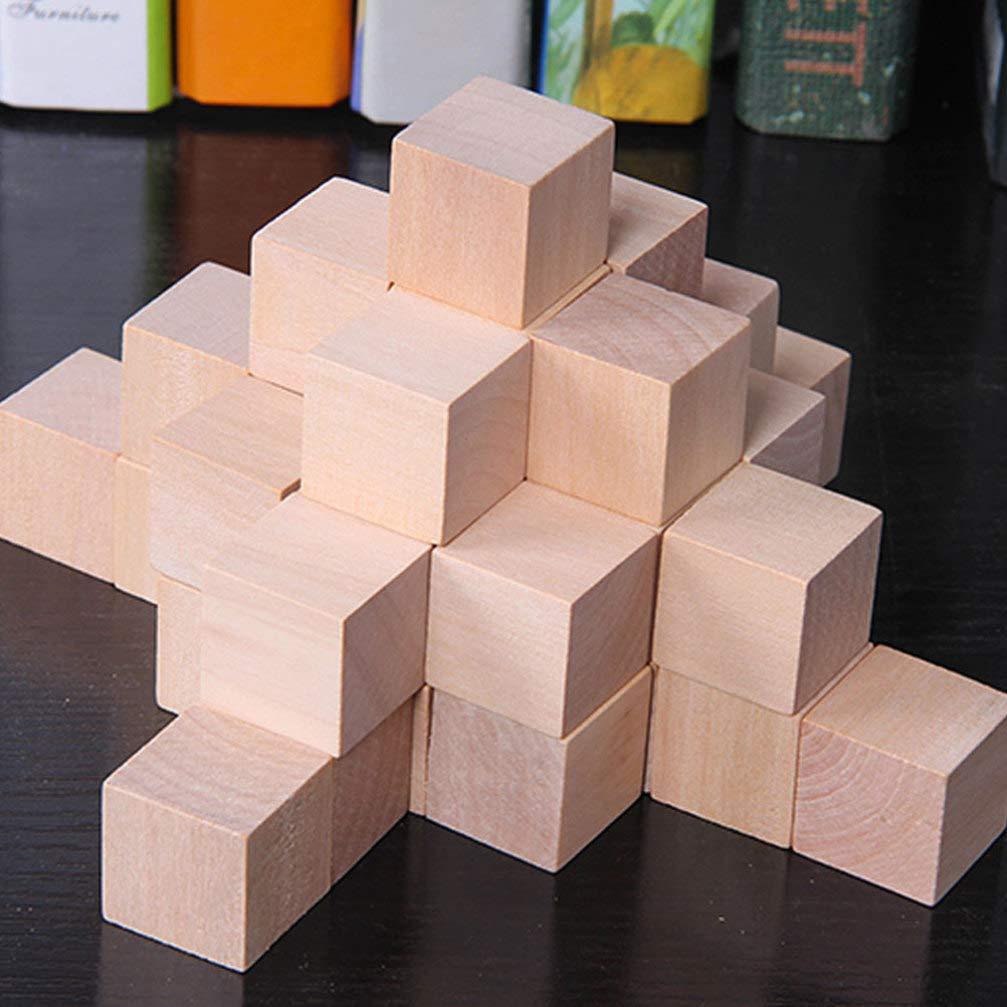 Healifty 100 piezas de bloques cuadrados de madera bloques de cubos inacabados cubos artesanales diy construcci/ón de proyectos de rompecabezas para ni/ños colorido 1 cm