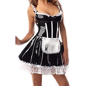Amazon.com: Disfraz de sirvienta sexy imitación vinilo Meili ...