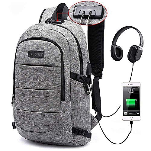 Laptop Backpack for boys & Men & Women,Anti Theft Waterproof School Bookbag with USB Charging Port for College Student for Teen Girls,Travel Business Backpack Fits Under 15.6-Inch Laptop Notebook,Grey