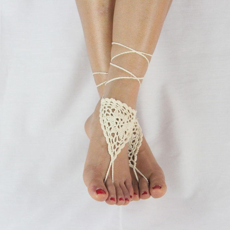 niceEshop(TM) Femmes Cheville Bracelet Ethnique Ivoire Crochet Barefoot  Sandales: Amazon.fr: Vêtements et accessoires