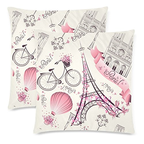 InterestPrint Custom 2 Pack Romantic Travel in Paris Throw Cushion Pillow Case Covers 18x18 Twin Sides, Paris Symbol Cotton Zippered Pillowcase Sets Decorative