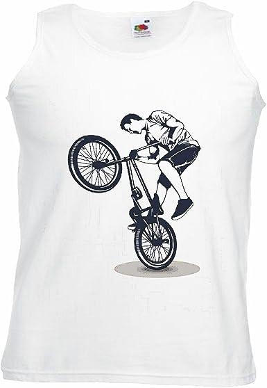Camisa del músculo Tank Top Ciclismo DE Bicicleta BMX Freestyle Motocross Chopper Bicicleta Freestyle Manga en Blanco: Amazon.es: Ropa y accesorios