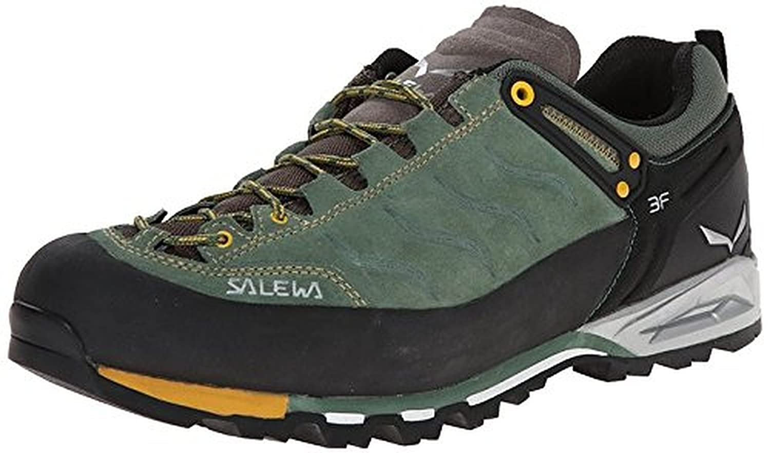 Salewa Men's Mountain Trainer Shoes Myrtle / Nugget Gold 13 & Etip Lite Gripper Glove Bundle