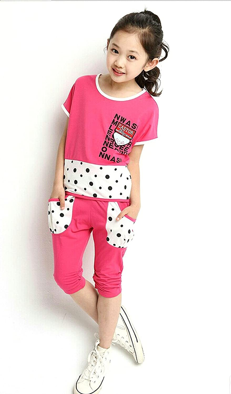 SOPO Toddler Girl Summer Outfits Dot Patchwork 2 pcs Sport Set Pink 6t