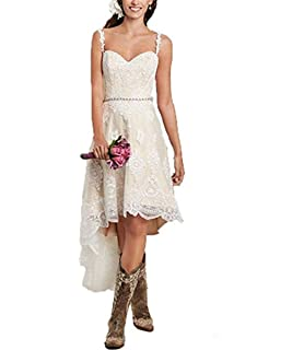 Fishlove High Low Vestidos De Novia Spaghetti Straps Lace Country Wedding Dresses With Detachable Skirt W18