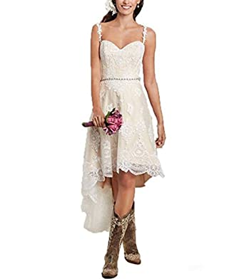 Vweil Rustic High Low Vestido De Novia Lace Wedding Dresses with Detachable Skirt Ivory US 2