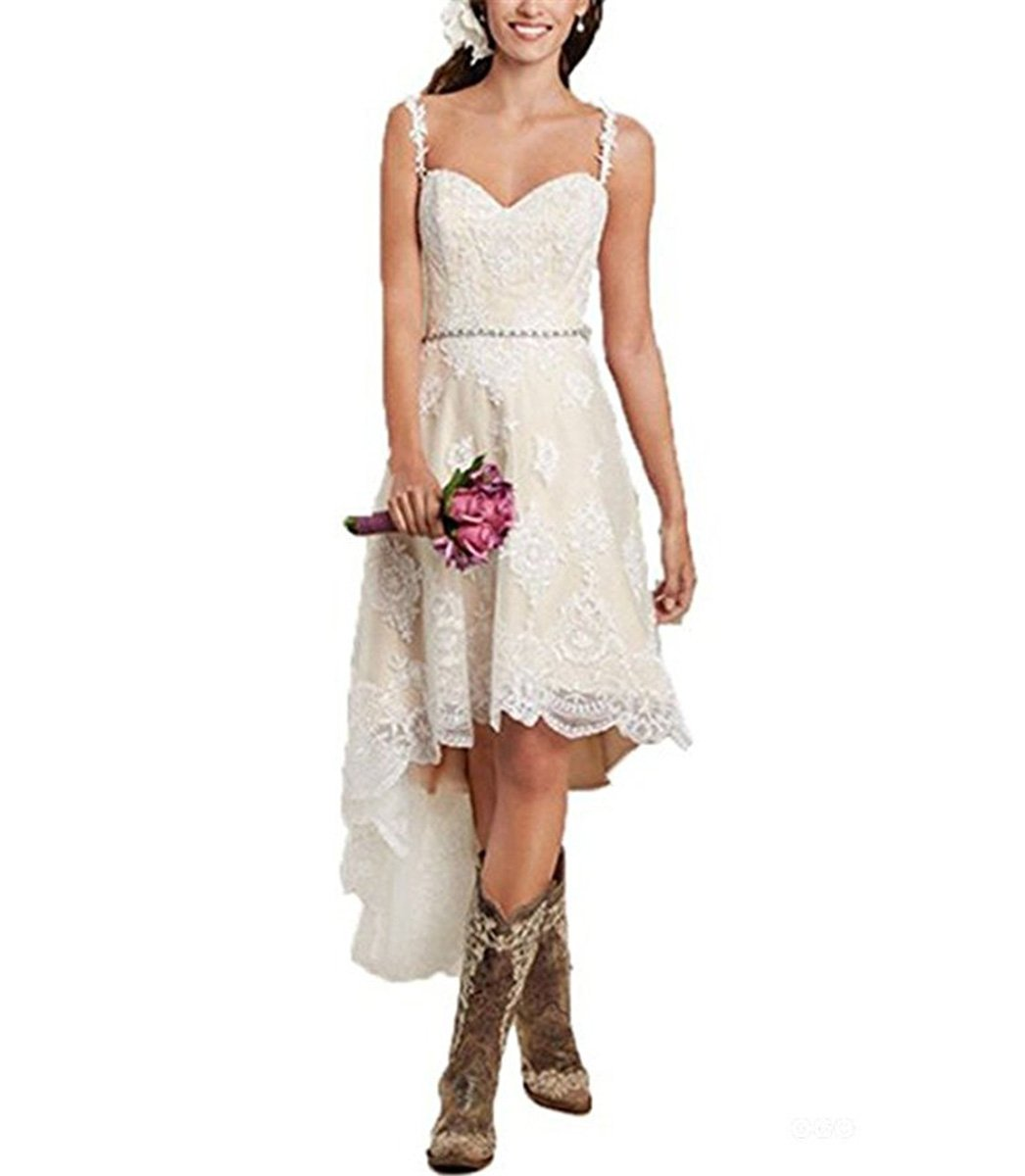 Vweil Rustic High Low Vestido De Novia Lace Wedding Dresses With Detachable Skirt VD23
