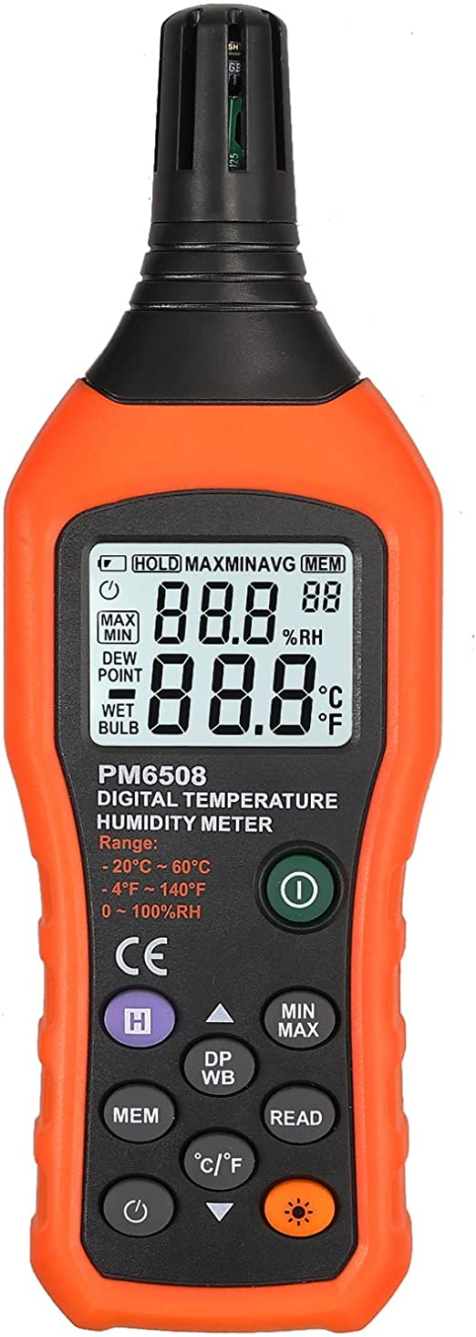 Portable 0~100/%RH Humidity Meter Temperature Dew point /& Wet-bulb C// DP// WB// °F