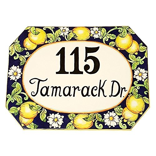CERAMICHE D'ARTE PARRINI - Italian Ceramic Art Pottery Tile Custom House Number Civic Decorative Hand Painted Made in ITALY Tuscan