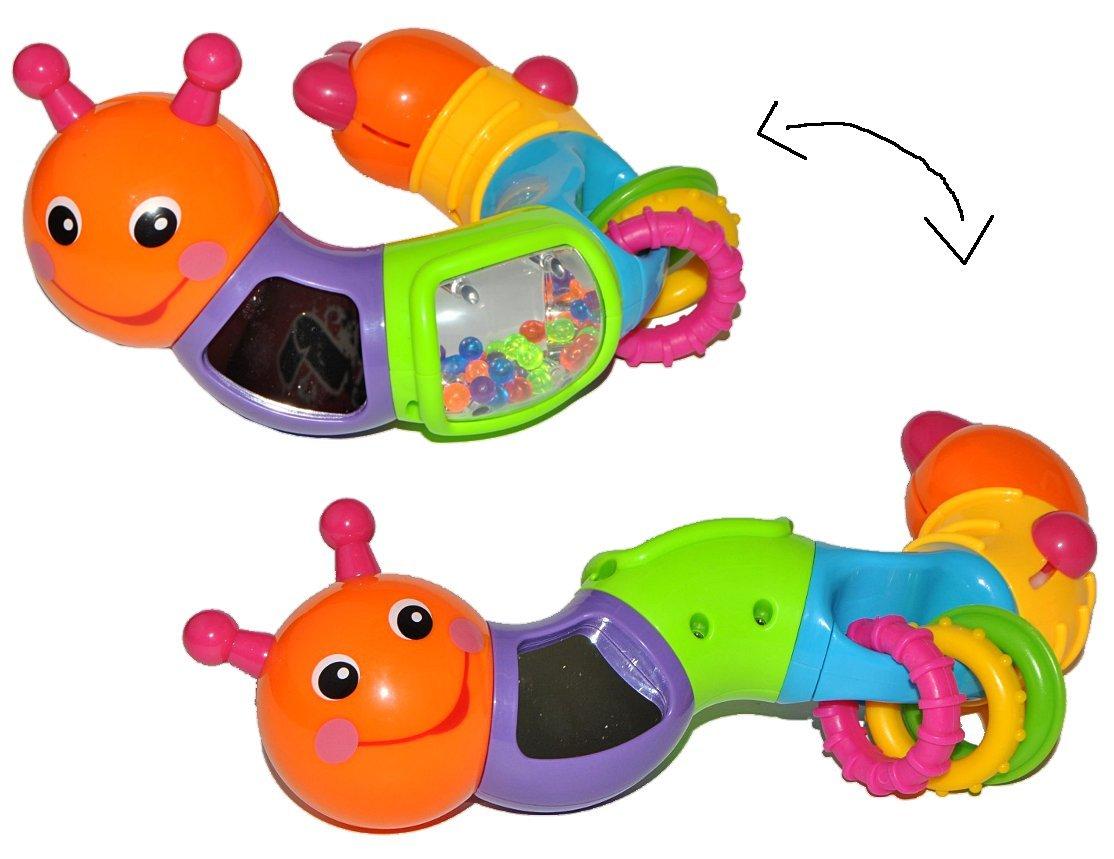 Unbekannt Greifling / Motorikspielzeug bewegliche Raupe mit Melody Rassel Greiflinge - Kunststoff Baby Motorik Raupe Rassel Spiegel Kinder-Land