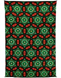 Zest For Life Red & Green Fractal Digital Print Tapestry Tablecloth Beach Sheet Wall Art Huge 53X88 Inches