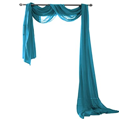 Semi Sheer Luxury Scarf Window Decor Modern Classic Outdoor Home Design Light Penetrating Provide Privacy Soft Durable Polyester Easy Upkeep add to Curtains Drapes (Scarf 54  x 216  Peacok)