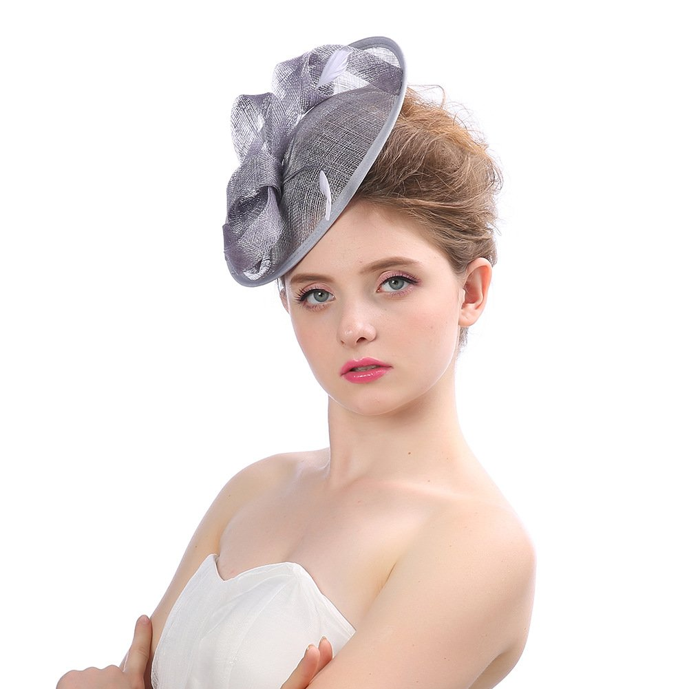 b853f6af Women Fascinators Hat Lady Cocktail Wedding Party Net Yarn Flax Headdress  Urchart, Grey at Amazon Women's Clothing store:
