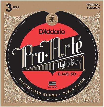 Oferta amazon: D'Addario EJ45-3D - Juego de Cuerdas para Guitarra Clásica de Nylon con Entorchado de Plata.028 - .043, Transparente