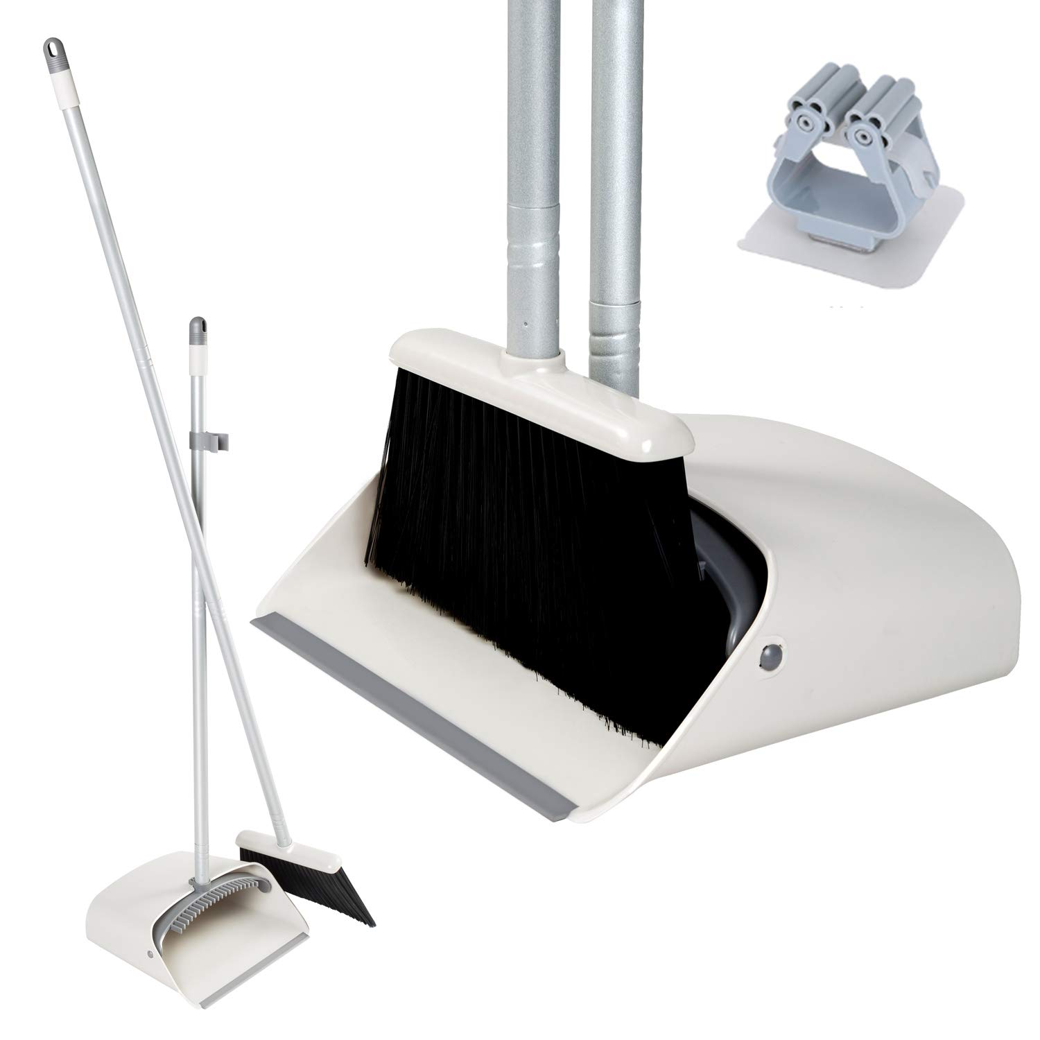 JEHONN Broom and Dustpan, Long Handle Lightweight Broom Set Upright Dustpan Stand Up Store Sweep Set for Home Room Kitchen Office Lobby, Grey