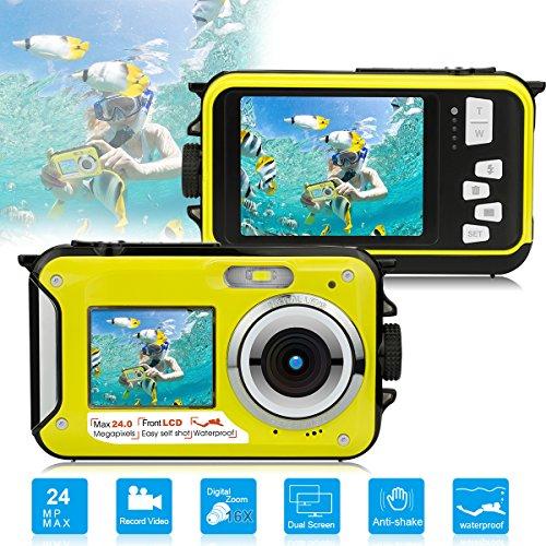 Dual Screen Waterproof Underwater Point and Shoot Digital Camera Video Recorders by Yasolote