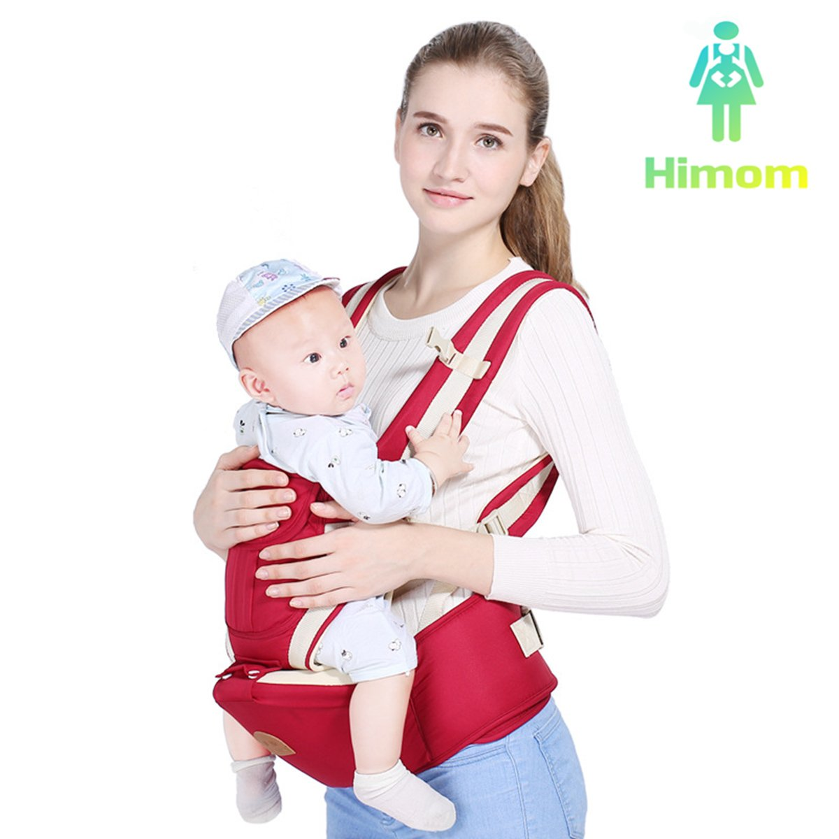 9 in 1 Multifunctional& Ergonomic Baby Girl or Boy Carrier with Hip Seat for infant Child by Himom (Blue) Huanchang