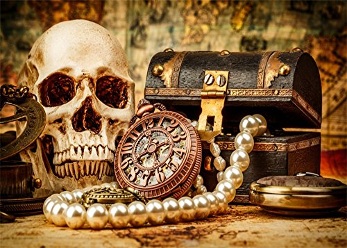 Halloween Costumes Youtube Video (Leowefowa 7X5FT Vinyl Photography Backdrop Halloween Scary Skull Golden Clock Jewel Box Pearl Necklace Costume Party Background Kids Children Adults Photo Studio Props)
