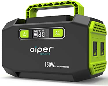 Aiper 150W Portable Power Station 167Wh 45000mAh Solar Generator Lithium Battery Backup Power supply with Dual 110V AC Outlet, 3 DC Ports, 2 USB Outputs for Home Emergency Camping Outdoors