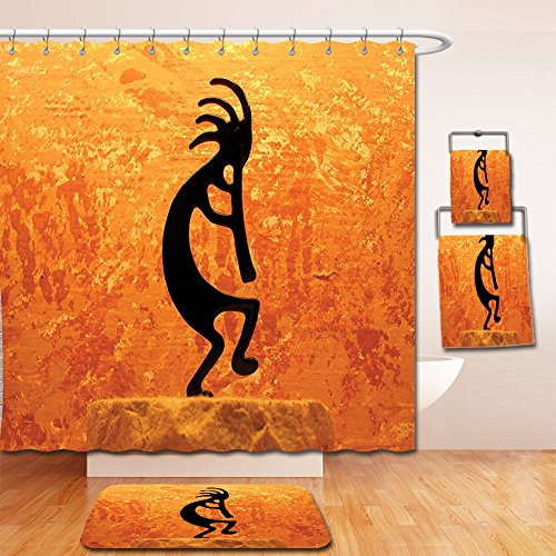 Nalahome Bath Suit: Showercurtain Bathrug Bathtowel Handtowel Kokopelli Decor Collection Kokopelli Southwestern Style Native American Indian Ancient Belief Picture Art Orange Black