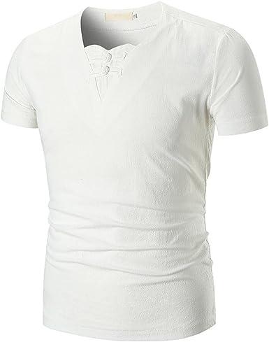 FAMILIZO Camisetas Manga Corta Hombre Moda Camisetas Hombre Lino Camisetas Hombre Verano Blusa Hombre Manga Corta Tops Camisetas Hombre Rayas T Shirts for Men Blusa Hombre Blanca: Amazon.es: Ropa y accesorios