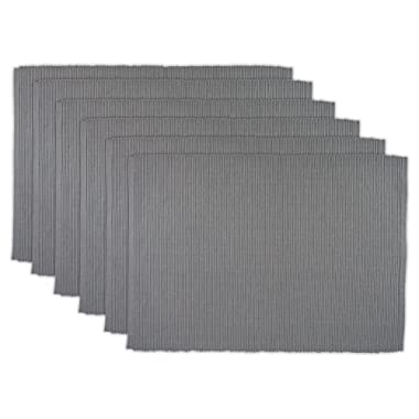 DII 100% Cotton, Ribbed 13x 19 Everyday Basic Placemat Set of 6, Gray, Set
