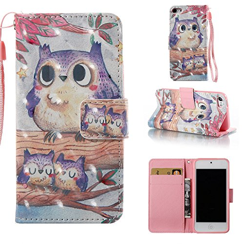 Voanice iPod Touch 6 Case,iPod Touch 5 Case,iPod Touch 6th Generation Case Purple Cute Owl Wallet with Stand Credit Card ID Holders Bumper Premium PU Leather Flip Cover for iPod 5th 6th Gen&Stylus