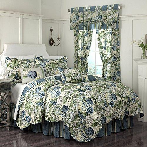 Waverly Floral Quilt - Waverly Floral Flourish Quilt Set, 68x86, Porcelain