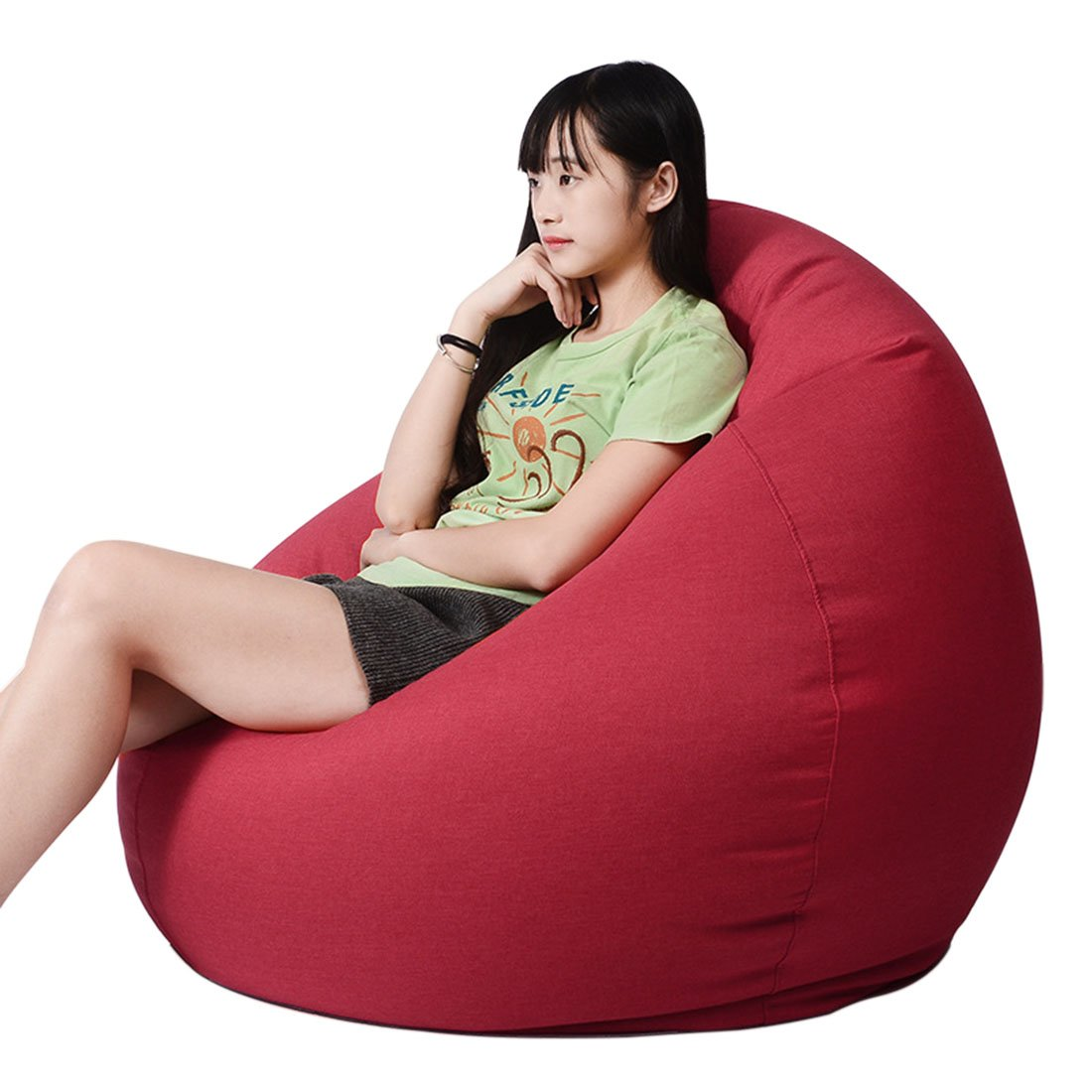 Enerhu Adult Beanbag Kids Bean Bag Chair Indoor Outdoor Floor Cushion Sofa Comfortable Removable Cover Apricot