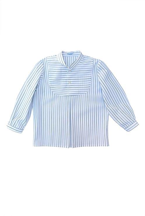 ANCAR - Camisa de Rayas Blancas y Azules. Manga Larga ...